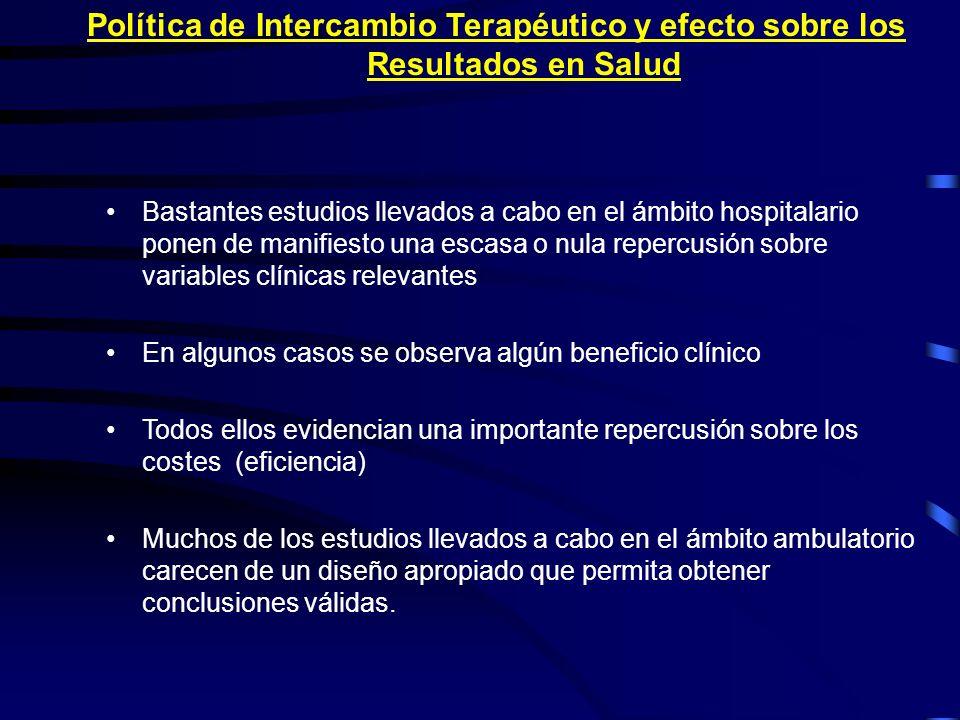 Política de Intercambio Terapéutico y efecto sobre los Resultados en Salud Bastantes estudios llevados a cabo en el ámbito hospitalario ponen de manif