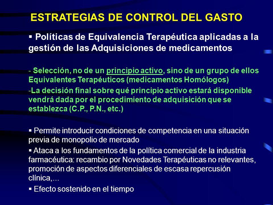 Políticas de Equivalencia Terapéutica aplicadas a la gestión de las Adquisiciones de medicamentos - Selección, no de un principio activo, sino de un g