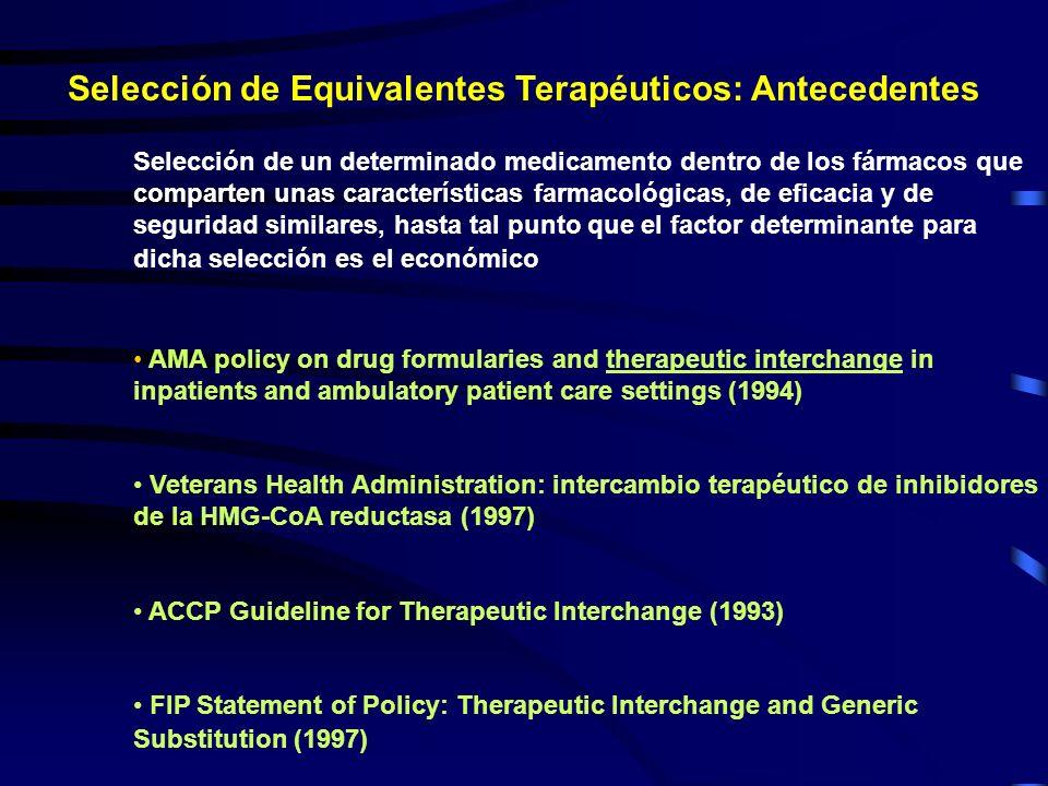 Selección de Equivalentes Terapéuticos: Antecedentes Selección de un determinado medicamento dentro de los fármacos que comparten unas características