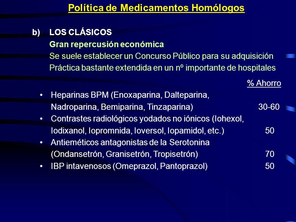 Política de Medicamentos Homólogos b)LOS CLÁSICOS Gran repercusión económica Se suele establecer un Concurso Público para su adquisición Práctica bast