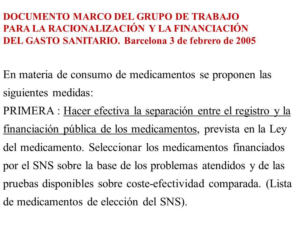 En materia de consumo de medicamentos se proponen las siguientes medidas: PRIMERA : Hacer efectiva la separación entre el registro y la financiación p