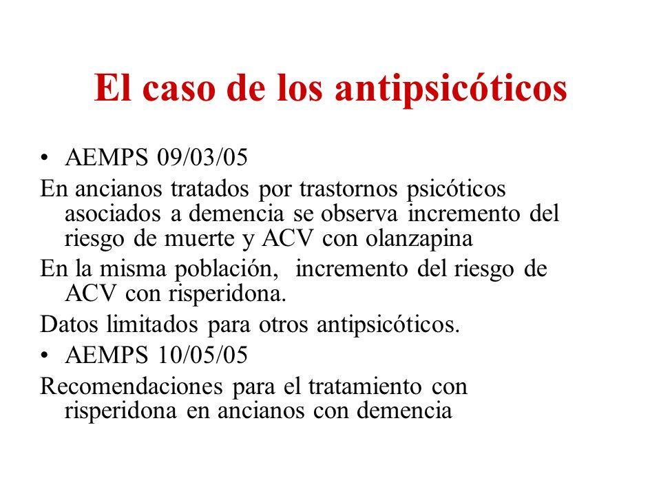 El caso de los antipsicóticos AEMPS 09/03/05 En ancianos tratados por trastornos psicóticos asociados a demencia se observa incremento del riesgo de m
