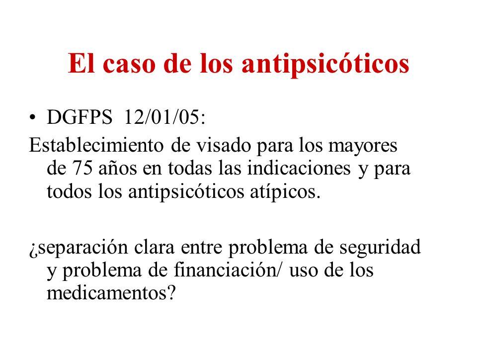 El caso de los antipsicóticos DGFPS 12/01/05: Establecimiento de visado para los mayores de 75 años en todas las indicaciones y para todos los antipsi