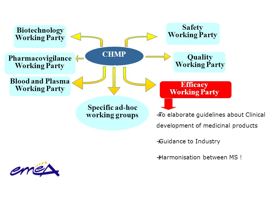 Efficacy Working Party Pharmacovigilance Working Party Quality Working Party Biotechnology Working Party Safety Working Party CHMP Working Parties Blo