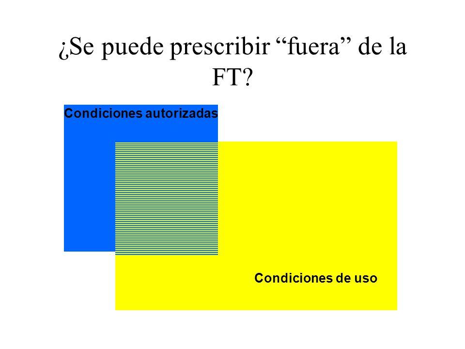 ¿Se puede prescribir fuera de la FT? Condiciones de uso Condiciones autorizadas
