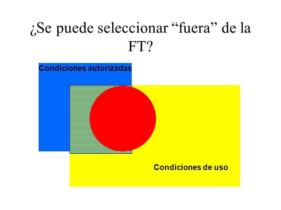 ¿Se puede seleccionar fuera de la FT? Condiciones de uso Condiciones autorizadas