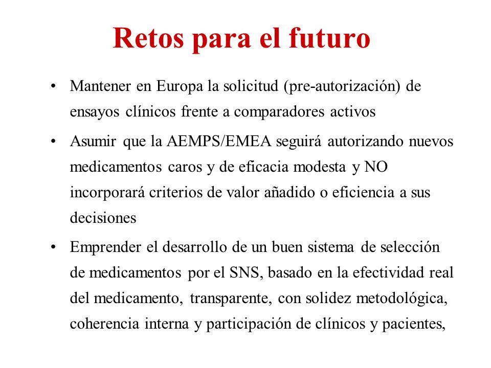 Retos para el futuro Mantener en Europa la solicitud (pre-autorización) de ensayos clínicos frente a comparadores activos Asumir que la AEMPS/EMEA seg