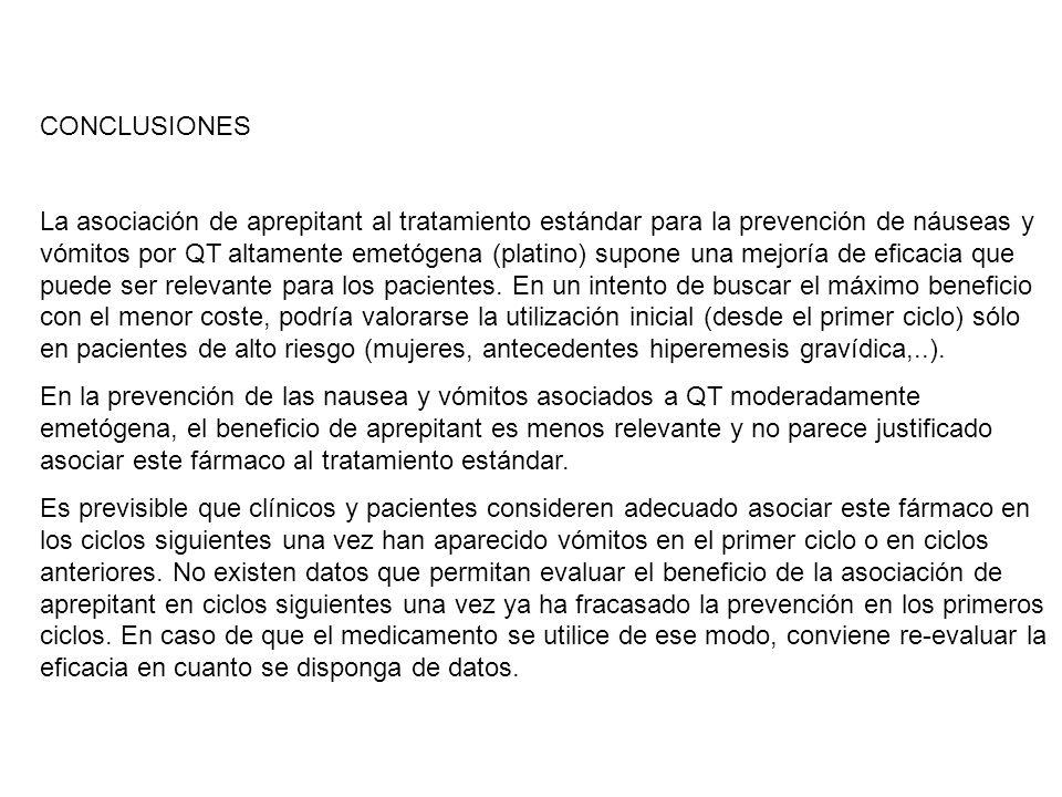 CONCLUSIONES La asociación de aprepitant al tratamiento estándar para la prevención de náuseas y vómitos por QT altamente emetógena (platino) supone u