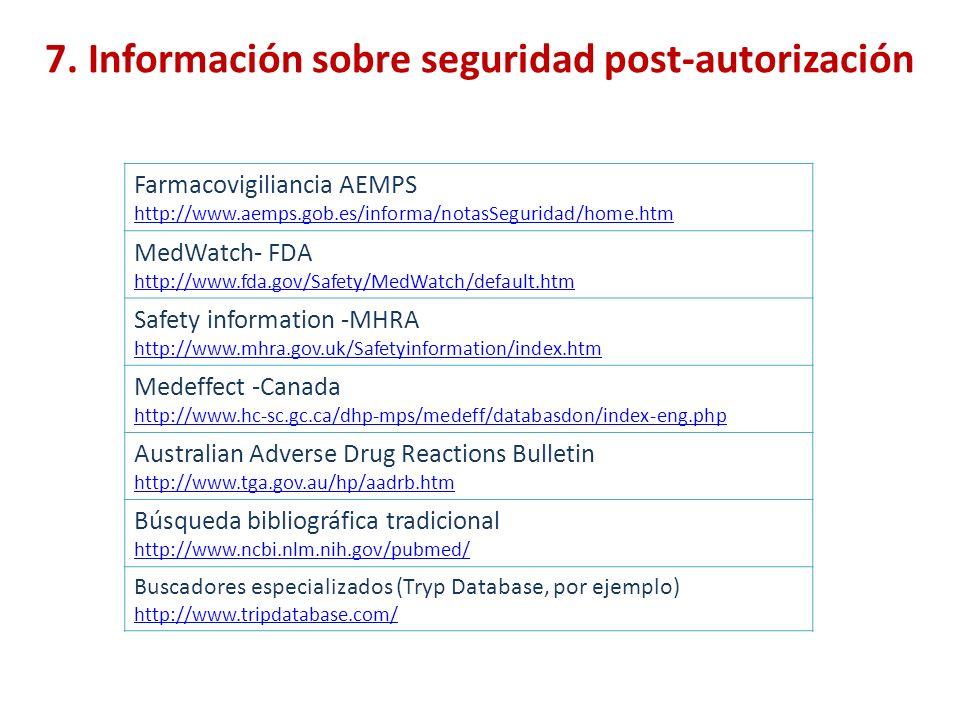 7. Información sobre seguridad post-autorización Farmacovigiliancia AEMPS http://www.aemps.gob.es/informa/notasSeguridad/home.htm MedWatch- FDA http:/