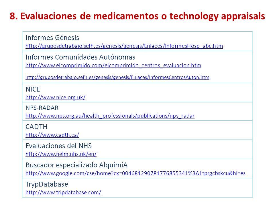 8. Evaluaciones de medicamentos o technology appraisals Informes Génesis http://gruposdetrabajo.sefh.es/genesis/genesis/Enlaces/InformesHosp_abc.htm I