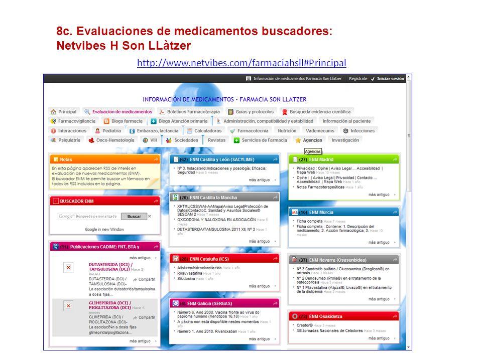 http://www.netvibes.com/farmaciahsll#Principal 8c. Evaluaciones de medicamentos buscadores: Netvibes H Son LLàtzer