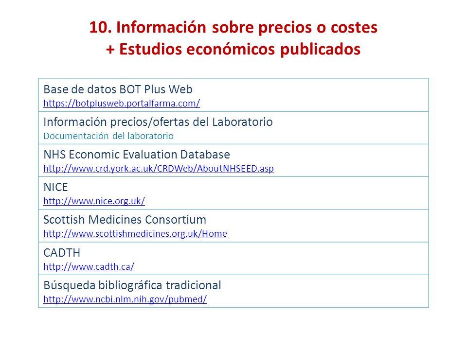 10. Información sobre precios o costes + Estudios económicos publicados Base de datos BOT Plus Web https://botplusweb.portalfarma.com/ Información pre