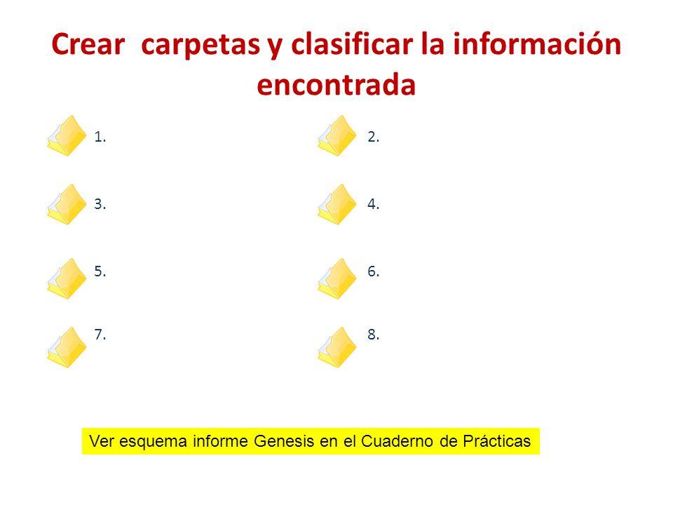 1.2. 3.4. 5.6. 7.8. Crear carpetas y clasificar la información encontrada Ver esquema informe Genesis en el Cuaderno de Prácticas