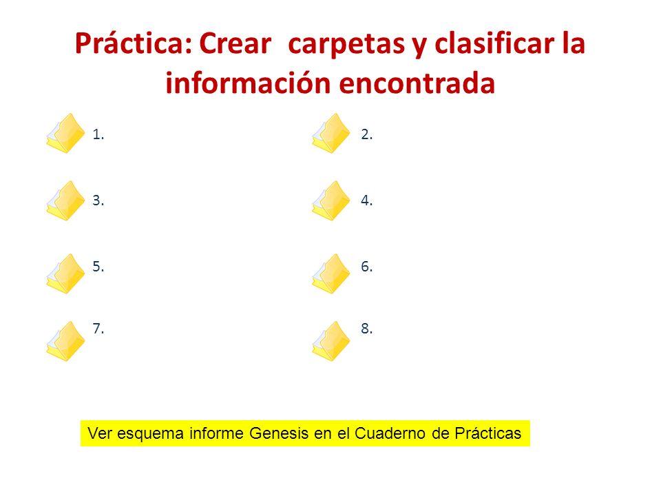 1.2. 3.4. 5.6. 7.8. Práctica: Crear carpetas y clasificar la información encontrada Ver esquema informe Genesis en el Cuaderno de Prácticas