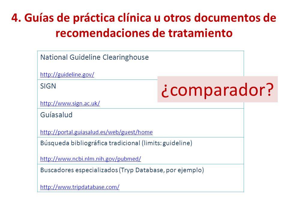 4. Guías de práctica clínica u otros documentos de recomendaciones de tratamiento National Guideline Clearinghouse http://guideline.gov/ SIGN http://w