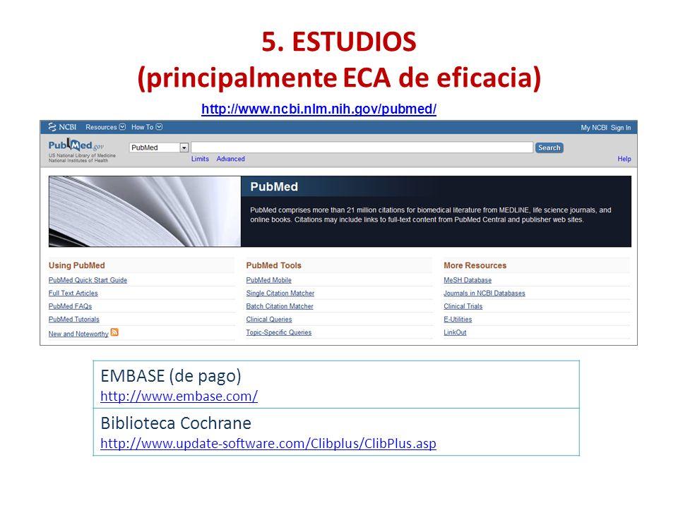 5. ESTUDIOS (principalmente ECA de eficacia) EMBASE (de pago) http://www.embase.com/ Biblioteca Cochrane http://www.update-software.com/Clibplus/ClibP