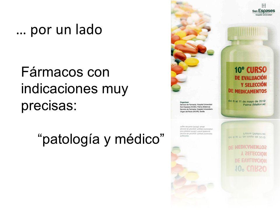 … por un lado Fármacos con indicaciones muy precisas: patología y médico