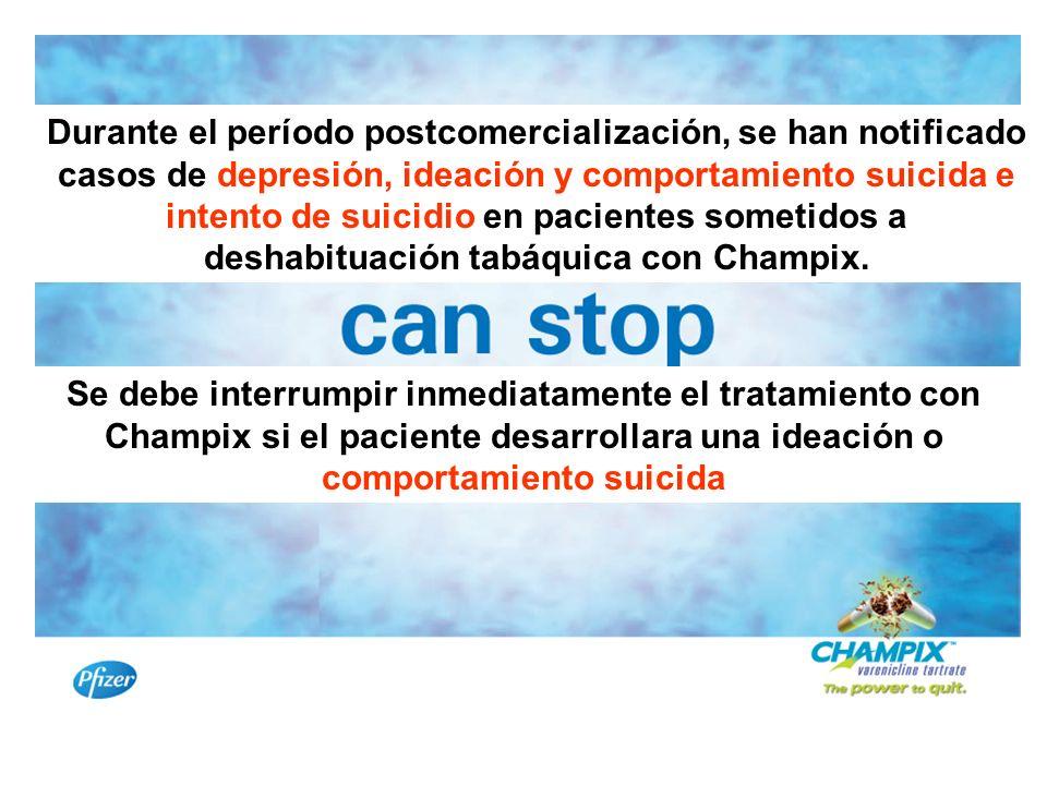 Durante el período postcomercialización, se han notificado casos de depresión, ideación y comportamiento suicida e intento de suicidio en pacientes so