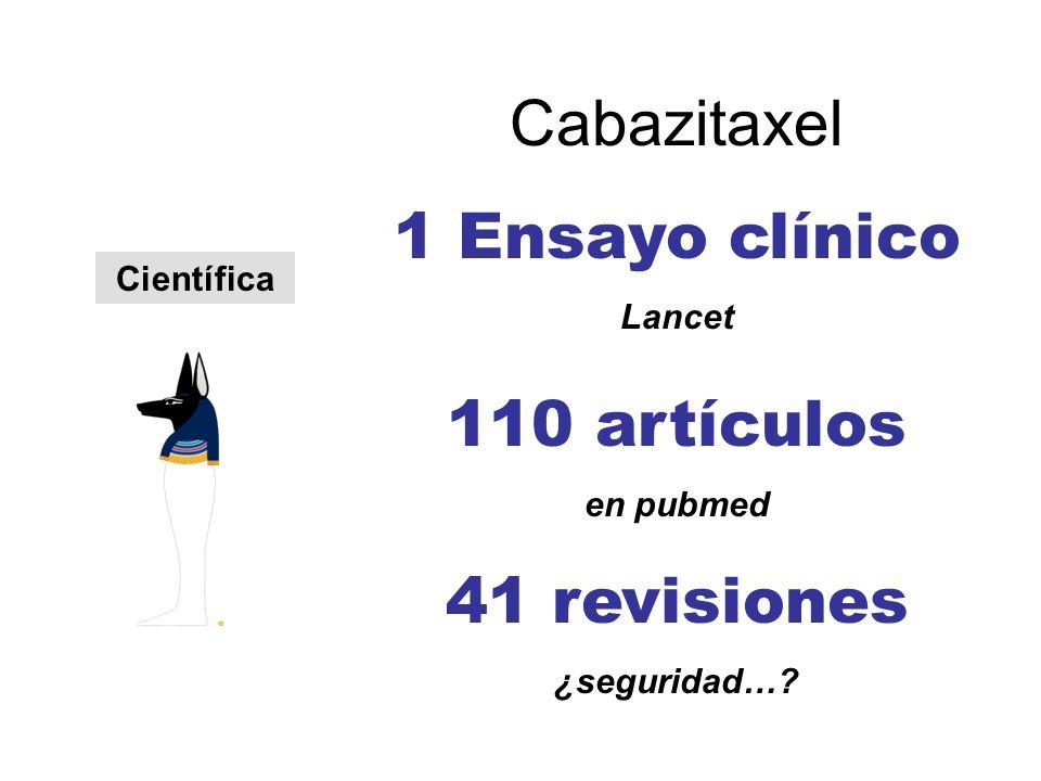 Científica Cabazitaxel 1 Ensayo clínico Lancet 110 artículos en pubmed 41 revisiones ¿seguridad…?