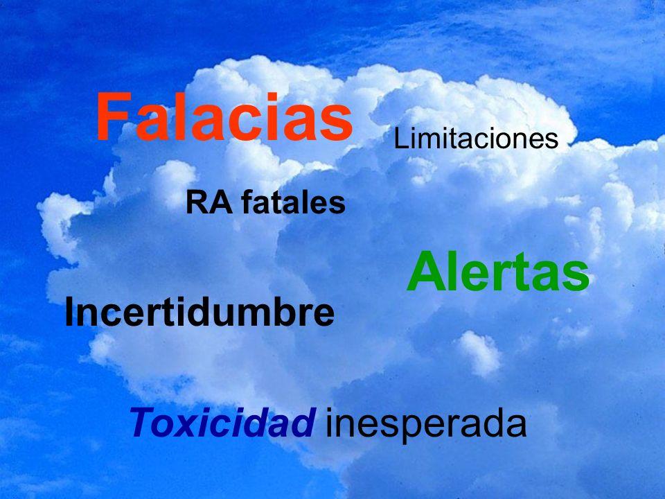 Falacias Toxicidad inesperada Incertidumbre Alertas Limitaciones RA fatales