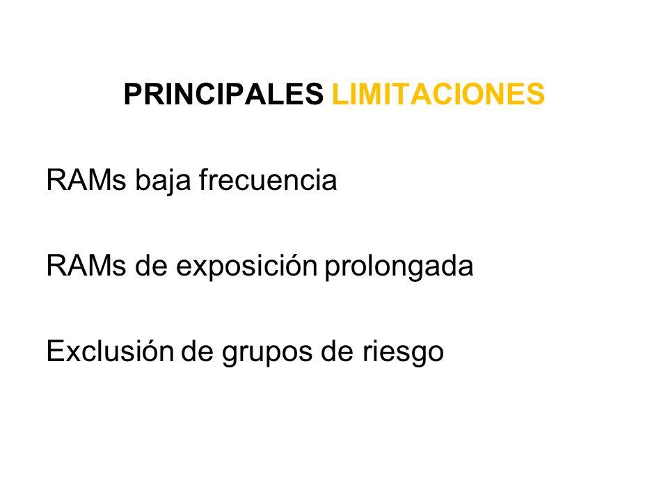 PRINCIPALES LIMITACIONES RAMs baja frecuencia RAMs de exposición prolongada Exclusión de grupos de riesgo