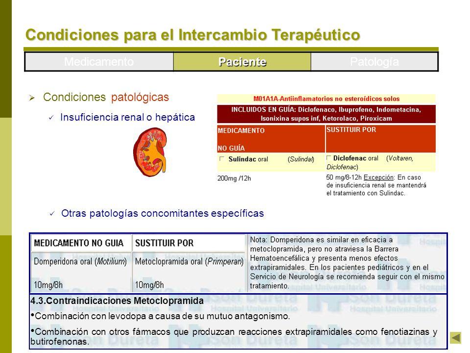MedicamentoPacientePatología Condiciones patológicas Insuficiencia renal o hepática Otras patologías concomitantes específicas 4.3.Contraindicaciones