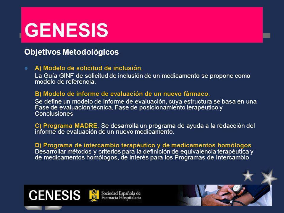 GENESIS Objetivos Metodológicos A) Modelo de solicitud de inclusión. La Guía GINF de solicitud de inclusión de un medicamento se propone como modelo d