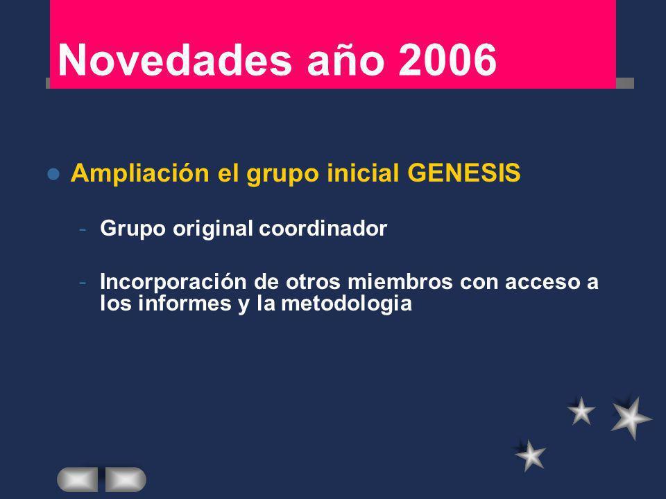 Novedades año 2006 Ampliación el grupo inicial GENESIS -Grupo original coordinador -Incorporación de otros miembros con acceso a los informes y la met