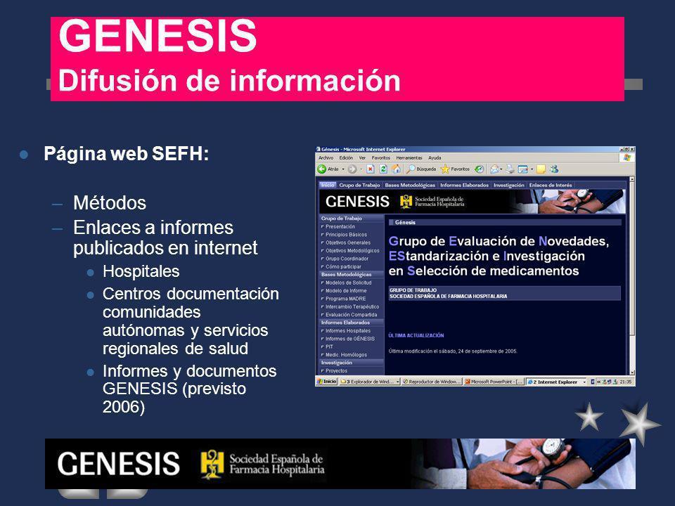 Página web SEFH: –Métodos –Enlaces a informes publicados en internet Hospitales Centros documentación comunidades autónomas y servicios regionales de