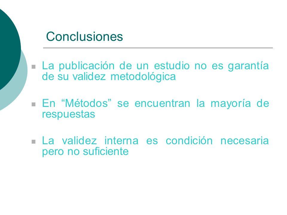 Conclusiones La publicación de un estudio no es garantía de su validez metodológica En Métodos se encuentran la mayoría de respuestas La validez interna es condición necesaria pero no suficiente