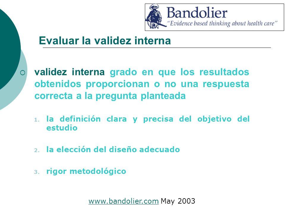 Evaluar la validez interna validez interna grado en que los resultados obtenidos proporcionan o no una respuesta correcta a la pregunta planteada 1.
