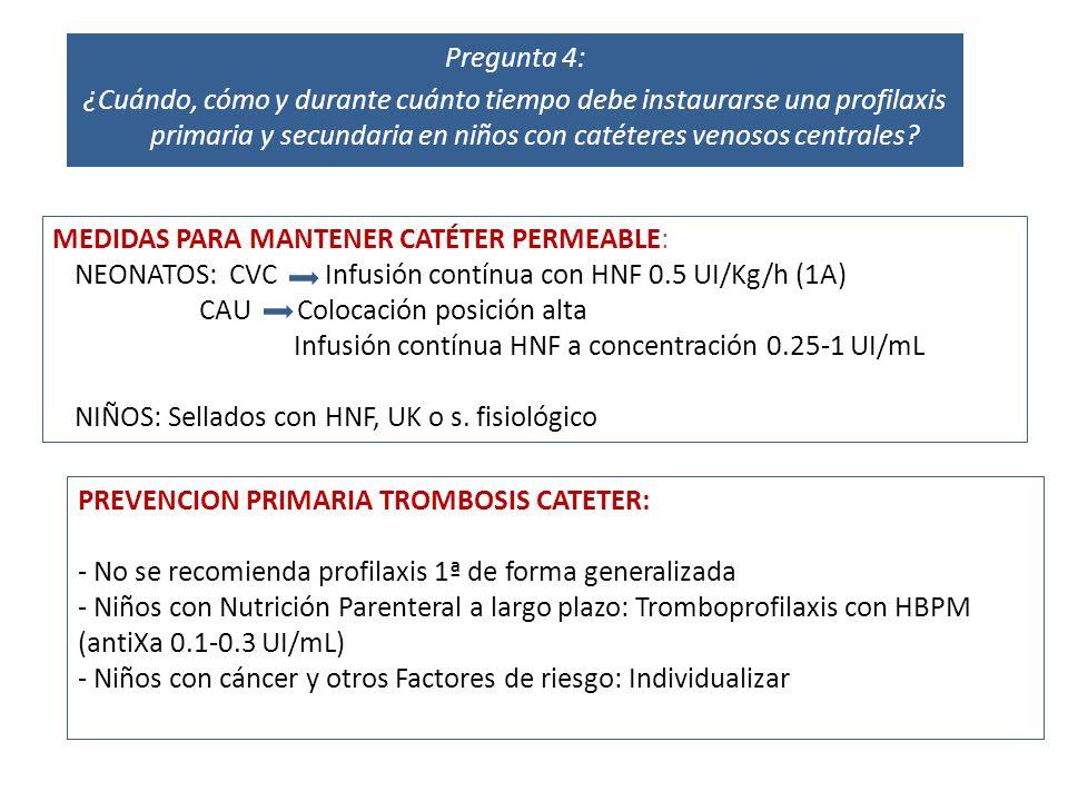 MEDIDAS PARA MANTENER CATÉTER PERMEABLE: NEONATOS: CVC Infusión contínua con HNF 0.5 UI/Kg/h (1A) CAU Colocación posición alta Infusión contínua HNF a