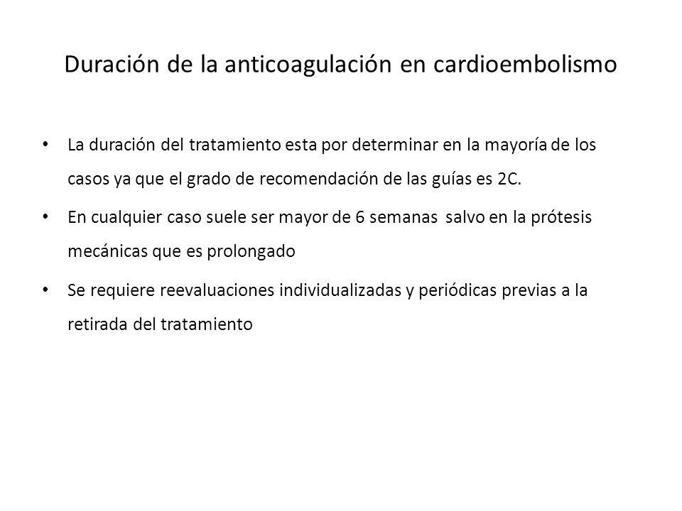 Duración de la anticoagulación en cardioembolismo La duración del tratamiento esta por determinar en la mayoría de los casos ya que el grado de recome