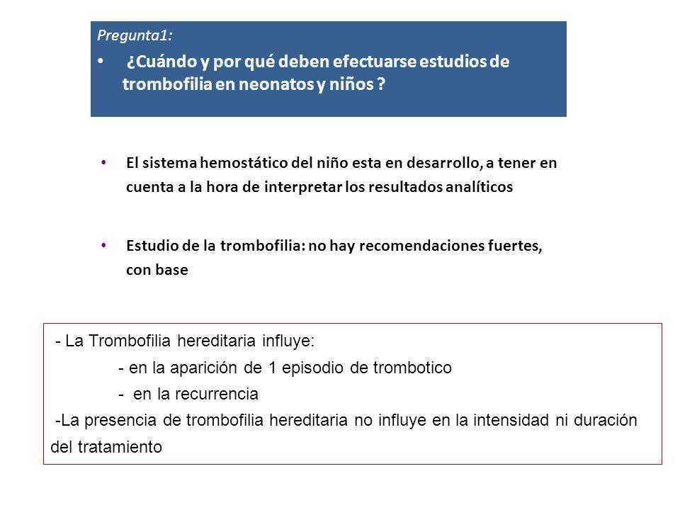 - La Trombofilia hereditaria influye: - en la aparición de 1 episodio de trombotico - en la recurrencia -La presencia de trombofilia hereditaria no in