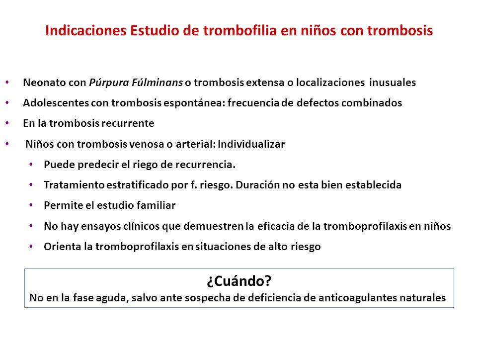 Indicaciones Estudio de trombofilia en niños con trombosis Neonato con Púrpura Fúlminans o trombosis extensa o localizaciones inusuales Adolescentes c