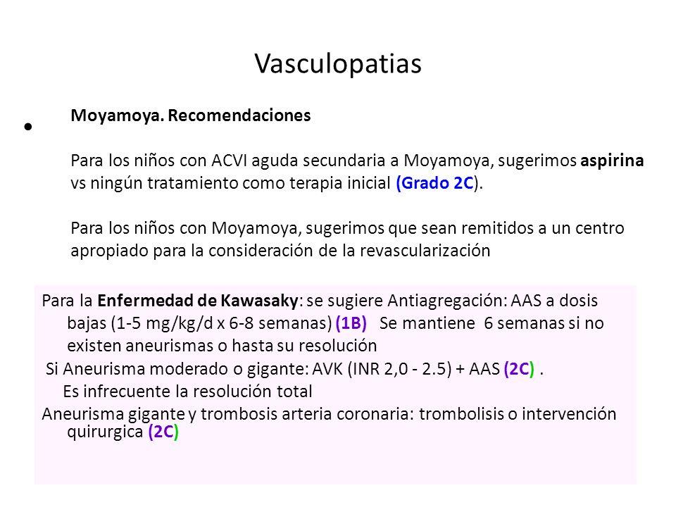 Vasculopatias Moyamoya. Recomendaciones Para los niños con ACVI aguda secundaria a Moyamoya, sugerimos aspirina vs ningún tratamiento como terapia ini