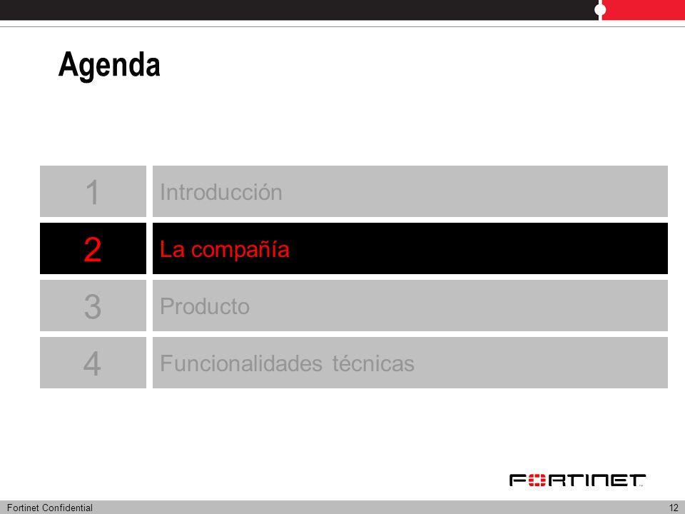 Fortinet Confidential12 Agenda Introducción La compañía Producto 1 2 3 4 Funcionalidades técnicas