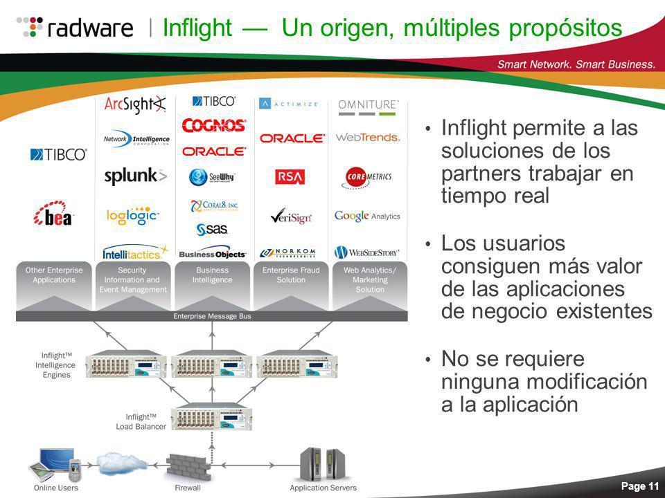 Page 11 Inflight Un origen, múltiples propósitos Inflight permite a las soluciones de los partners trabajar en tiempo real Los usuarios consiguen más