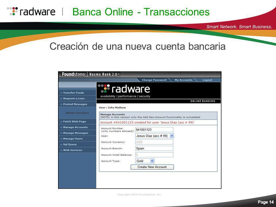 Page 14 Banca Online - Transacciones Creación de una nueva cuenta bancaria