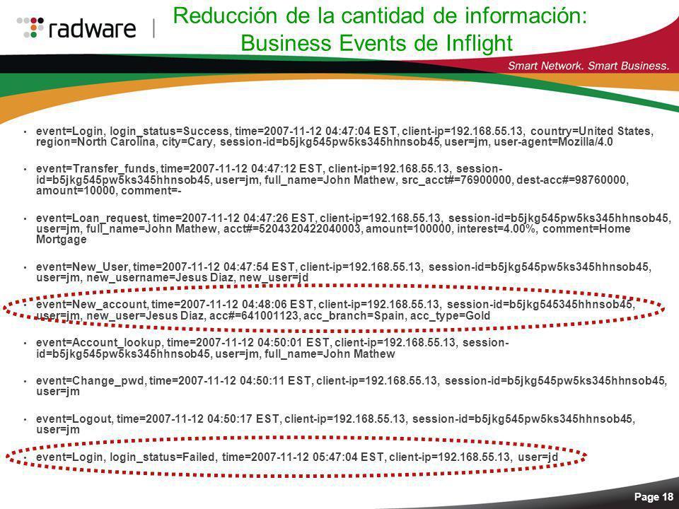 Page 18 Reducción de la cantidad de información: Business Events de Inflight event=Login, login_status=Success, time=2007-11-12 04:47:04 EST, client-i