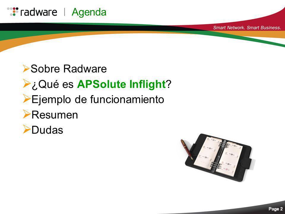 Page 2 Sobre Radware ¿Qué es APSolute Inflight? Ejemplo de funcionamiento Resumen Dudas Agenda