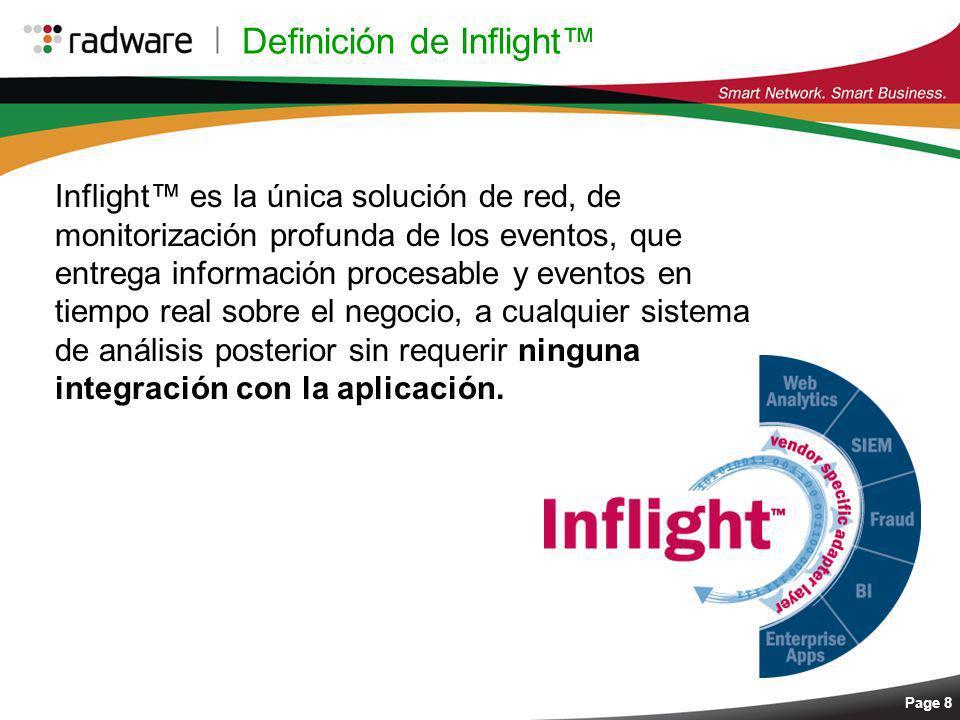 Page 8 Definición de Inflight Inflight es la única solución de red, de monitorización profunda de los eventos, que entrega información procesable y ev