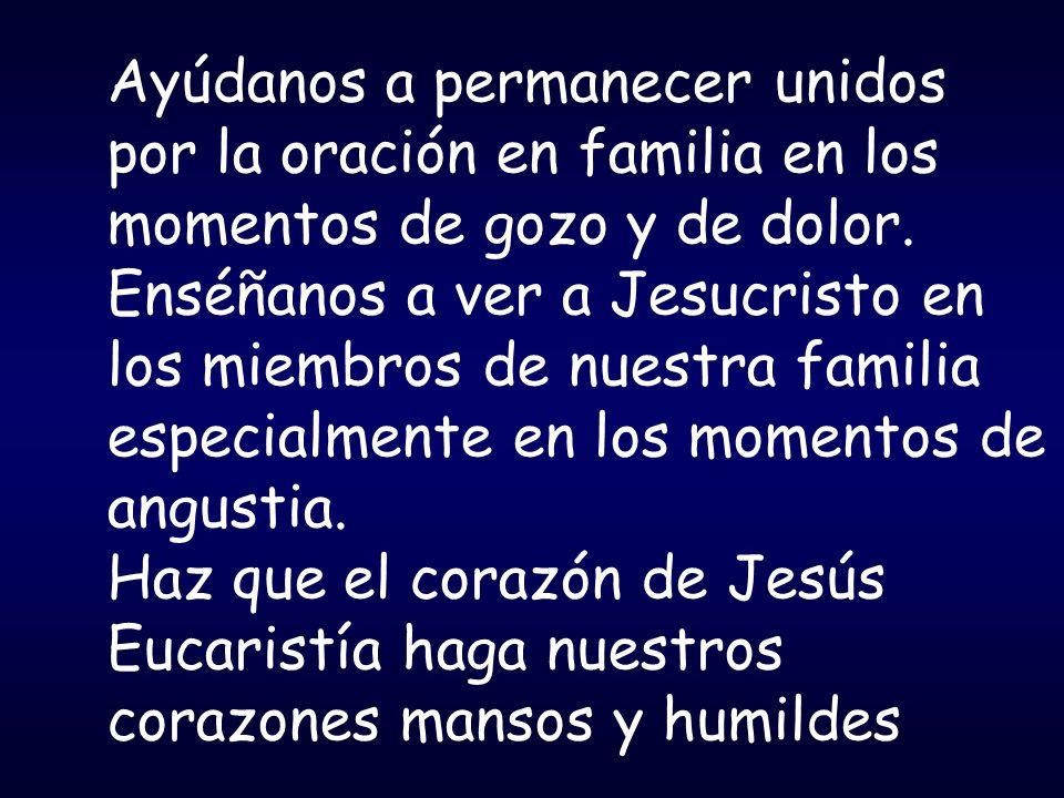 Ayúdanos a permanecer unidos por la oración en familia en los momentos de gozo y de dolor. Enséñanos a ver a Jesucristo en los miembros de nuestra fam