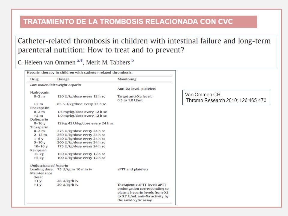 TRATAMIENTO DE LA TROMBOSIS RELACIONADA CON CVC Van Ommen CH. Thromb Research 2010; 126:465-470