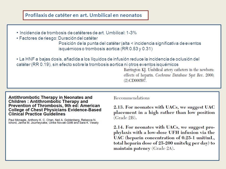 Profilaxis de catéter en art. Umbilical en neonatos Incidencia de trombosis de catéteres de art. Umbilical: 1-3% Factores de riesgo: Duración del caté