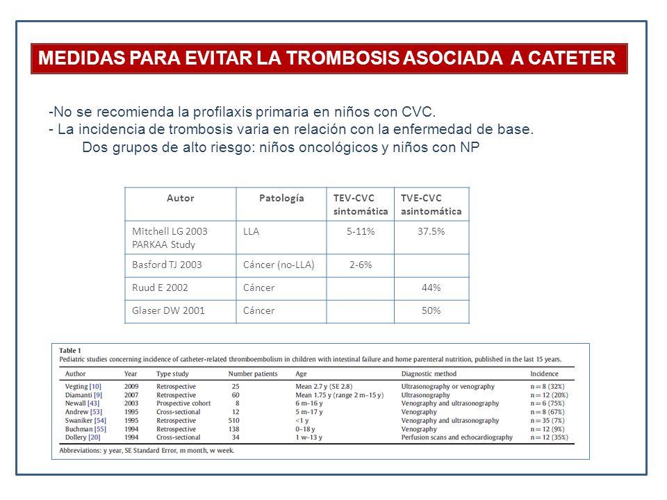 MEDIDAS PARA EVITAR LA TROMBOSIS ASOCIADA A CATETER -No se recomienda la profilaxis primaria en niños con CVC. - La incidencia de trombosis varia en r