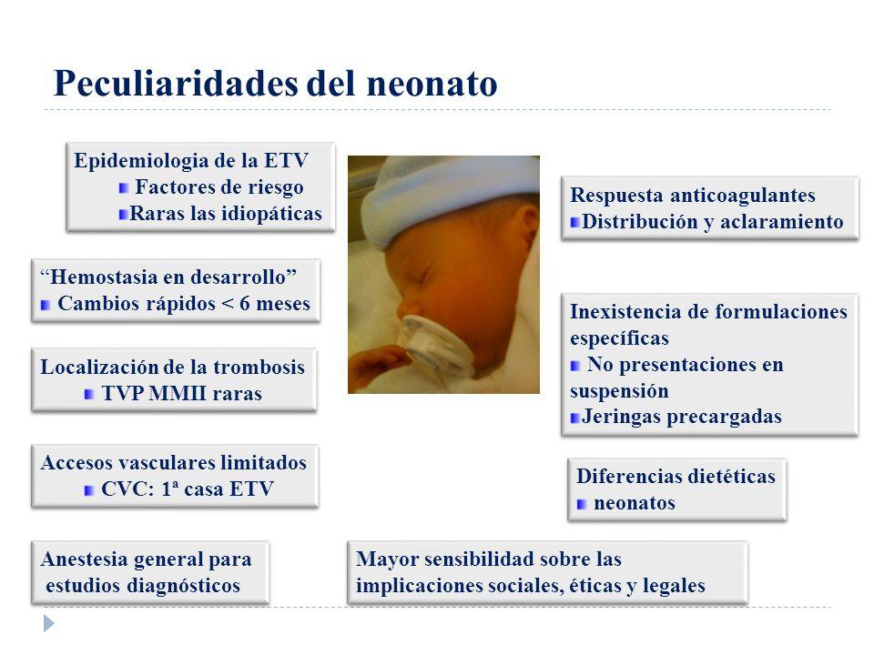Peculiaridades del neonato Epidemiologia de la ETV Factores de riesgo Raras las idiopáticas Epidemiologia de la ETV Factores de riesgo Raras las idiop