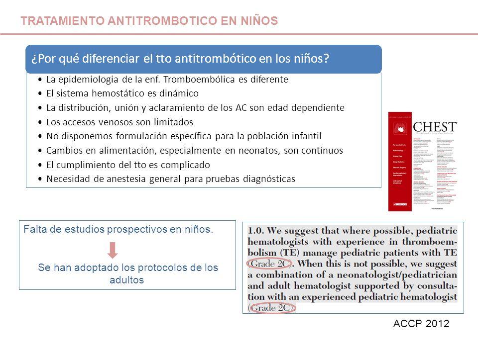 ¿Por qué diferenciar el tto antitrombótico en los niños? La epidemiologia de la enf. Tromboembólica es diferente El sistema hemostático es dinámico La