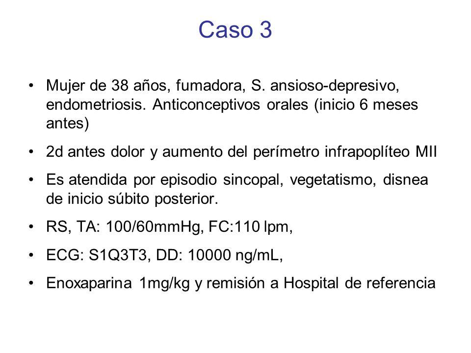 Caso 3 TA 100/60 mmHg, FC 105 lpm SaO 2 : 99%, FG>60mL/min Troponina I: 0.86 ug/L (n:<0.2) AngioTC: TEP masivo bilateral, signos sobrecarga D, signos sugerentes TVP poplítea bilateral ECOcar TT: VD dilatado, ratio VD/VI: 1.2, disfunción TAPSE 10mm ECOdoppler: VFS-P: ocupación de luz sin no- compresibilidad bilateral En Hospital de referencia: