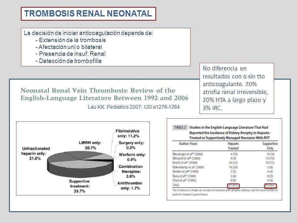 No diferencia en resultados con o sin tto anticoagulante (Lau KK. Pediatrics 2007; 120:e1278-1284) con 70% con atrofia renal irreversible. 20% HTA a l